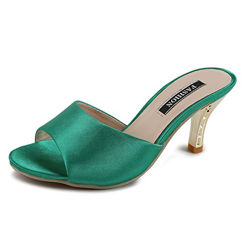 Paul Heels Slides Kevin Slippers Women's Green High Mules qRtHnwxCg