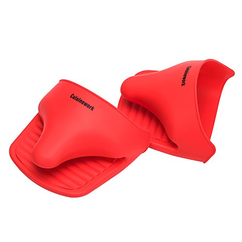 Multipurpose Silicone Mitts set, crab claw style, easy put-on and remove, machine washable (Rose Red)