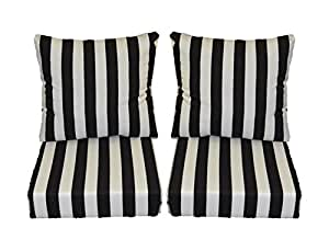Black And White Stripe Cushions For Patio