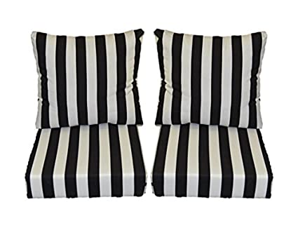 Black And White Stripe Cushions For Patio Outdoor Deep Seating Furniture  Loveseat   Choice Of Size