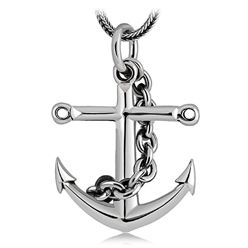 cb092e0f1aae YAN ER Collar de plata del ancla de la nave del vintage 925 para los hombres  -