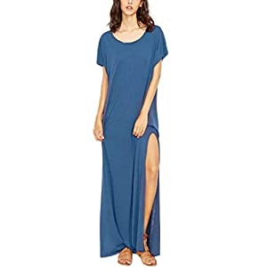 Rambling Women's Summer Casual Loose Dress Long Split Solid Sling Maxi Dresses O Neck Short Sleeve
