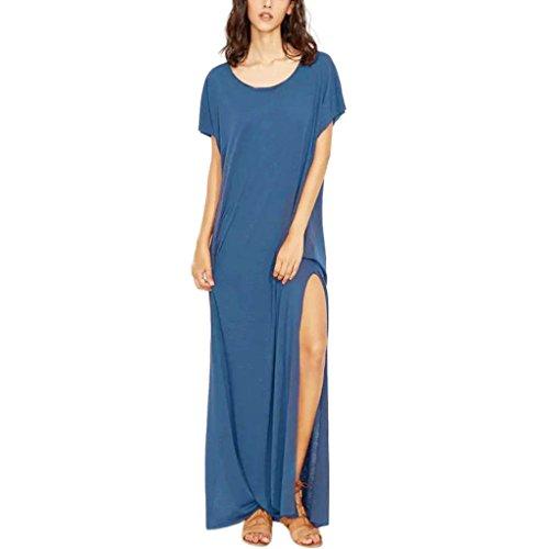 Rambling Women's Summer Casual Loose Dress Long Split Solid Sling Maxi Dresses O Neck Short Sleeve
