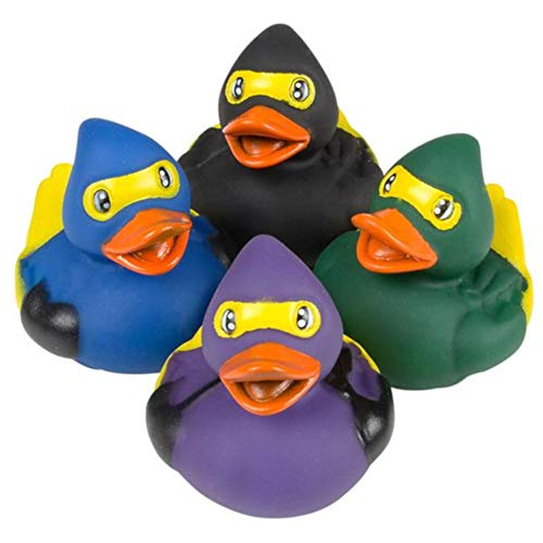 OIG Brands Rubber Ducks Bath Tub Toys - Bulk Duckies for Babies and Kids Duck Set of 12 (Ninja) ()