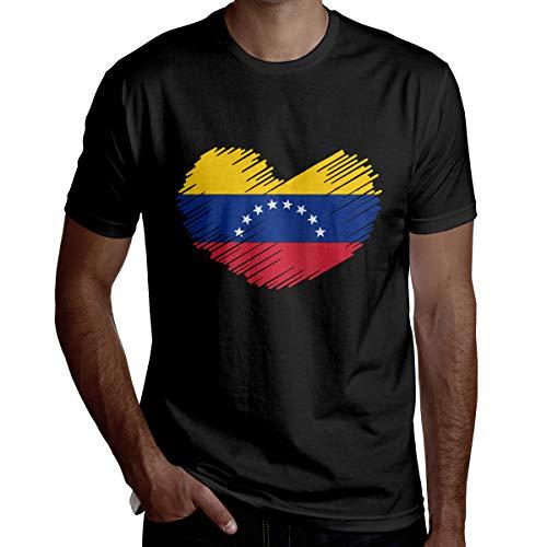 Venezuelan Flag in Heart Shape Printed Mens Short Sleeve Cool T Shirts Black