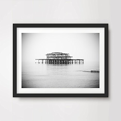 BRIGHTON WEST PIER ART PRINT POSTER Black White Home Decor Wall Picture Photo British Sussex Seaside A4 A3 A2 (10 Sizes)