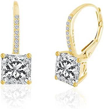 SPECIAL OFFER Sterling Silver Square Cubic Zirconia Leverback Earring