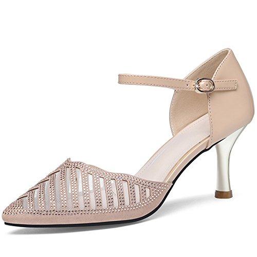 Jqdyl Tacones Zapatos únicos con Punta Femenina Verano Nueva Palabra Hebilla Hueca Fina con Sandalias Femeninas de Tacón Alto, 38, Golden 38|Golden