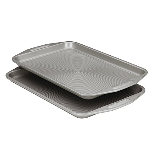 New 2 Piece Gray Non Stick Carbon Steel Baking Cookie Pan with Kitchen Tools Combo
