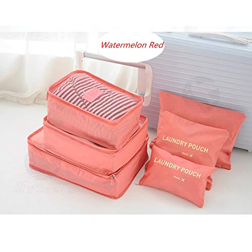 6pcs Travel Bag Set,Waterproof Breathable Oxford Cloth Clothing Underwear Shoes Luggage Storage Organiser Various Size Durable Cosmetics Case with Clear Window (1#)