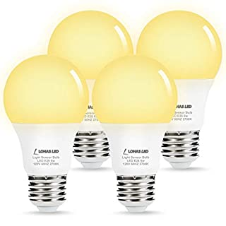 LOHAS Dusk to Dawn Sensor Light Bulb, 6W(40Watt Equivalent)Smart Automatic on/Off Dusk Till Dawn Bulb, A19 LED Warm White 2700K, E26 Base Indoor/Outdoor Security Lighting for Porch, Hallway, 4 Pack