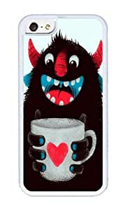 Apple Iphone 5C Case,WENJORS Unique Demon with a cup of coffee contrast Soft Case Protective Shell Cell Phone Cover For Apple Iphone 5C - TPU White