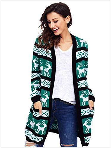 Lunga A Reindeer Manica Marca Di Libero Maglioni Tempo Green Giacca Anteriori Stampate Mode Donna Pullover Maglia Autunno Tasche 1 Casual Moda qZaYP