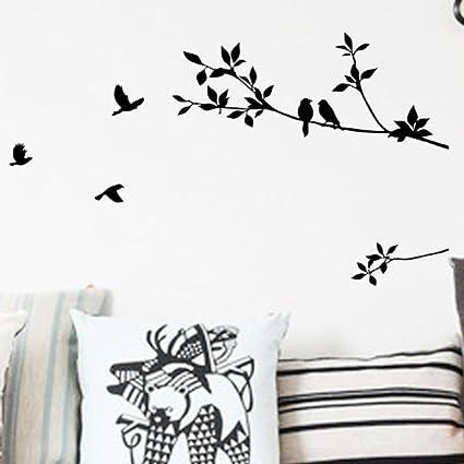 Tree Branch and Birds Art Wall Sticker DIY Living Room Decor Art Decal