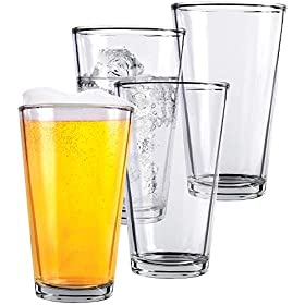 Clear Glass Beer Cups – All Purpose Drinking Tumblers, 16 oz – Elegant Design for Home and Kitchen – Lead and BPA Free, Great for Restaurants, Bars, Parties – by Kitchen Lux