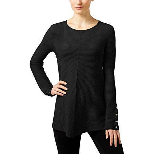 Alfani Womens Petites Ribbed Swing Pullover Sweater Black (Jewel Neck Ribbed Sweater)