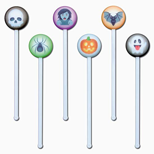 Royer Emoji Halloween Swizzle Stick, Party Stirrer Assortment, Skull, Spider, Zombie, Pumpkin, Bat, Ghost, Set of 24, Digitally Printed—Made in USA