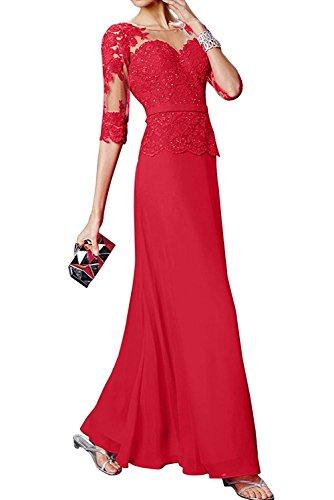 Abendkleider Langarm Rot Etuikleider Spitze Damen mia Brautmutterkleider mit La Braut Tanzenkleider a8qXvTSx