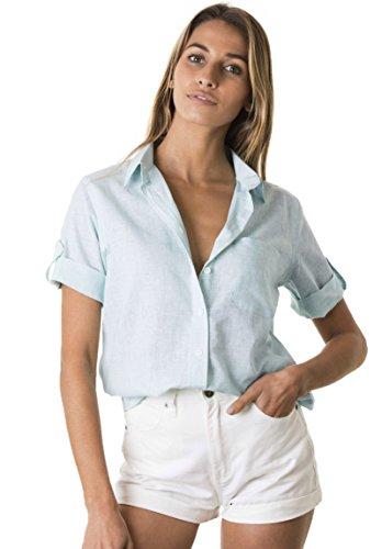 CAMIXA Women's Short Sleeve Casual Linen Button-Down Keep Cool Camp Shirt XL Cloud Blue ()
