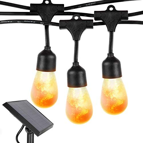 Brightech Ambience Pro with Flaming, Flickering LED Bulbs – Solar Panel Powered Hanging String Lights – Commercial Grade Waterproof, Shatterproof Cafe Lights Create Ambience In Your Yard, Deck – 27 Ft