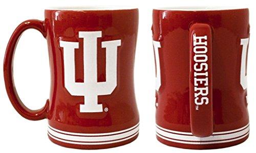 Indiana Mug (Indiana Hoosiers Coffee Mug - 14oz Sculpted Relief)