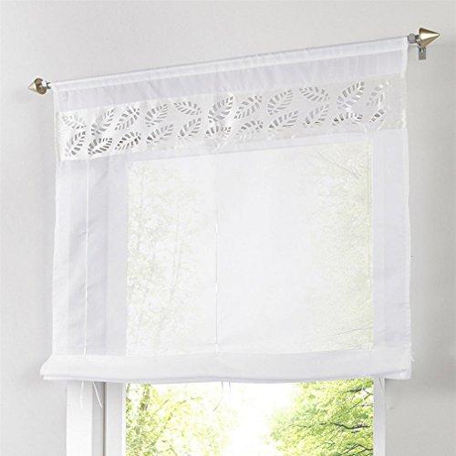 Souarts Weiß Transparent Gardine Raffgardinen Vorhang Raffrollo Schlaufenschal Deko für Wohnzimmer Schlafzimmer Studierzimmer 80cmx140cm