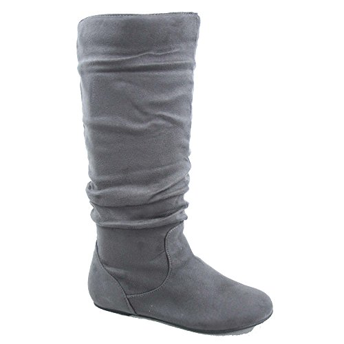 High Heel Slouch Boots (Top Moda Data-1 Women's Shoes Cute & Comfort Round Toe Flat Heel Slouchy Mid Calf Boot (6.5, Grey))