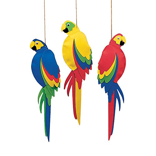 Fun Express - Foam Jumbo Parrots for Party - Party Decor - Hanging Decor - Misc Hanging Decor - Party - 12 Pieces ()