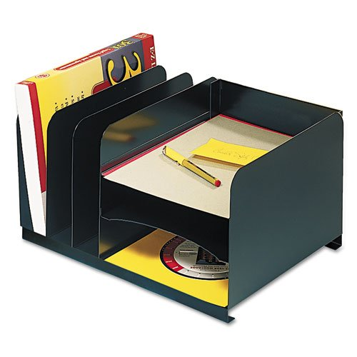 (Vertical/Horizontal Combo Organizer, Six Sections, Steel, 15 x 11 x 8 1/8, Black)