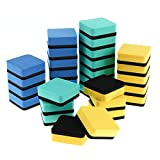 Xinzistar 30 Pack Magnetic Whiteboard Dry Erasers Chalkboard Cleansers for Classroom, Home and Office (1.97 x 1.97 Inch, 3 Colors)