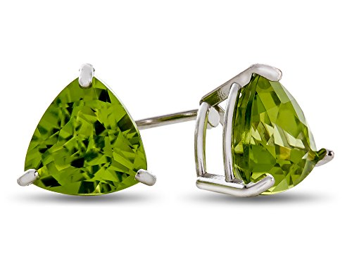 Finejewelers 7x7mm Trillion Peridot Post-With-Friction-Back Stud Earrings 10 kt White Gold