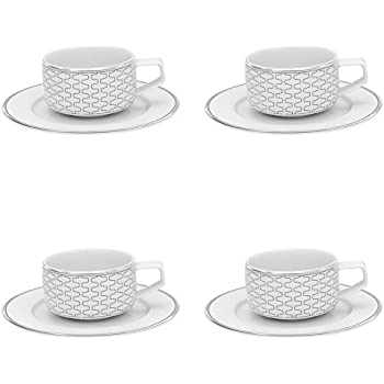 Vista Alegre Porcelain Trasso Large Coffee Cup & Saucer - Set of 4