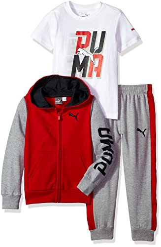 PUMA Little Boys' Three Piece Hoodie and Tee Set, Fierce Red, 5