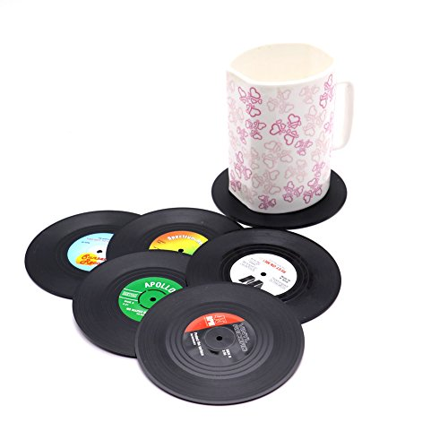 HUELE Set of 6 Colorful Vinyl Record Disk Coasters With Funny Labels - Perfect for Music Lovers
