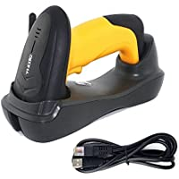 WER 433MHz Wireless Barcode Scanner Handheld Bar Code Reader Offline Store 100,000 Bar Code Cordless 1D Laser Automatic Barcode Reader with USB Cord and Cradle for Store Supermarket Warehouse(Yellow)