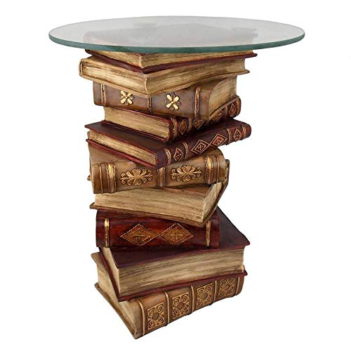 Design Toscano Power Vintage Decor Stacked Books End Table with Glass Top, 21 Inch, Full Color