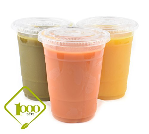 [1000 SETS] Plastic Disposable Cups with Lids - Premium 16 oz (ounces) Crystal Clear PET for Cold Drinks Iced Coffee Tea Juices Smoothies Slushy Soda Cocktails Beer Kids Safe (16oz Cups + Flat Lids) ()