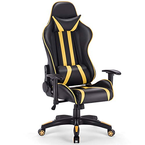 LHON High Back Gaming Chair Racing Reclining Chair with Headrest and Lumbar Adjustable Seat Height, Armrest &Padded High Back, 360-degree Swivel Heavy Weight (Yellow) Uncategorized