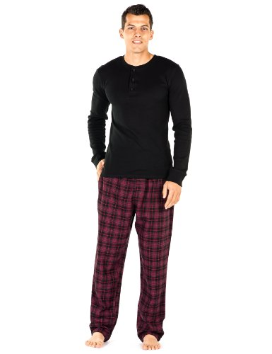 Noble Mount Mens Premium 100% Cotton Flannel Lounge Set