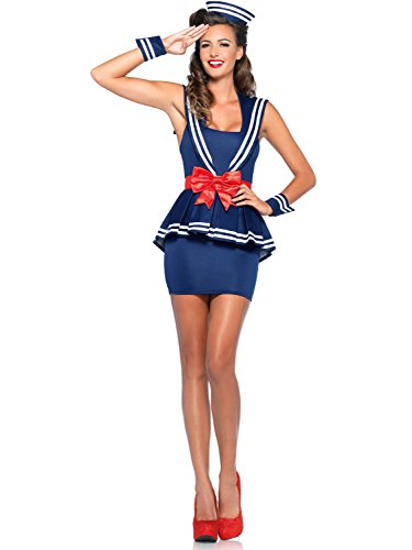 Leg Avenue Women's 4 Piece Aye Aye Amy Sailor Costume, Blue, (Leg Avenue Sailor Costume)