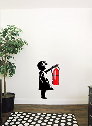 Banksy girl wall decal that fits fire extinguishers | Good for decorating office spaces, school walls, etc, Interior creative decor sticker