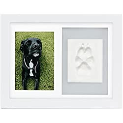 Better World Pets Paw Prints Keepsake Photo Frame Holds 4 x 6 inch Picture - Memorial Clay Imprint Kit - for Dogs and Cats - Perfect for Pet Lovers - Wall Mount