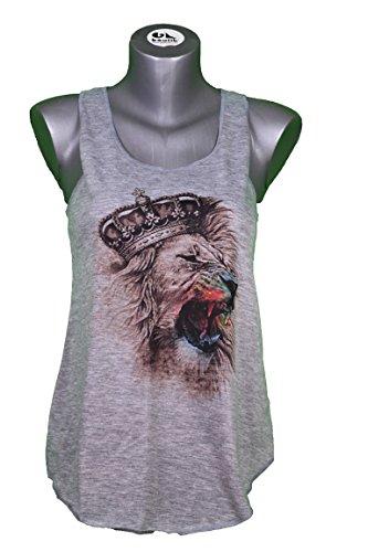 CAMISETA SIN MANGAS - LEON - ESTYLO GRAFICO - ANIMAL - GRAPHIK LION WOMAN TANK-TOP