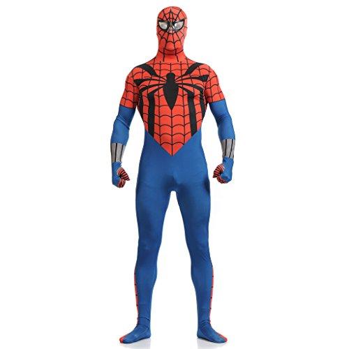 [CosplayDiy Costume Lycra Spandex Spiderman Sexy Adult Zentai Blue&Red L] (Blue Spiderman Suit)