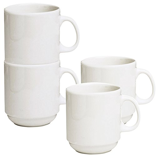 Stackable Ceramic Diner Coffee and Tea Mugs with Pan Scraper, 12 Ounce (4-Pack, White Ivory) ()