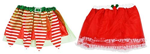 Black Duck Brand Set of 2 Holiday Costume Skirts! Choose from Santa or Elf! Perfect for Holiday Dressup and Play! (2 Skirts) ()