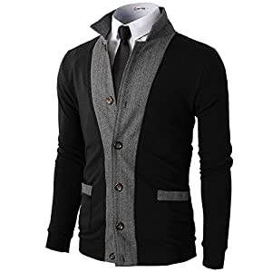 H2H Mens Casual Slim Fit Jacket Cardigans Long Sleeve Thermal