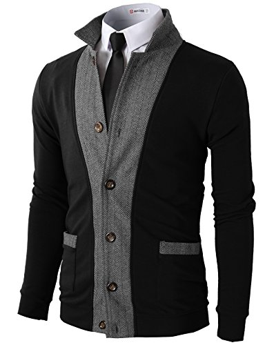H2H Mens Two-tone Herringbone Jacket Cardigans BLACK US M/Asia L (JLSK03)