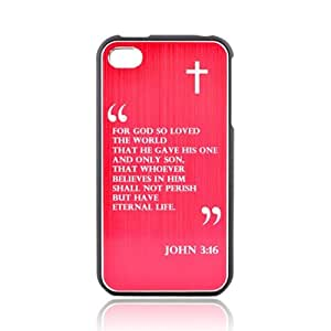 Apple Iphone 4/4s Rubberized Hard Plastic Snap On Shell Case Cover W/ Red Aluminum Back - John 3:16