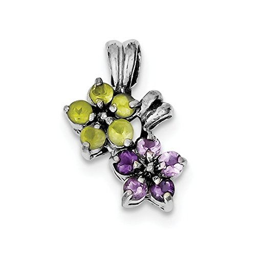- ICE CARATS 925 Sterling Silver Purple Amethyst Green Peridot Floral Pendant Charm Necklace Gemstone Fine Jewelry Ideal Gifts For Women Gift Set From Heart